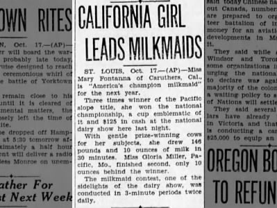 "Clip of the Day: Mary Fontanna Wins Title of ""America's Champion Milkmaid"""