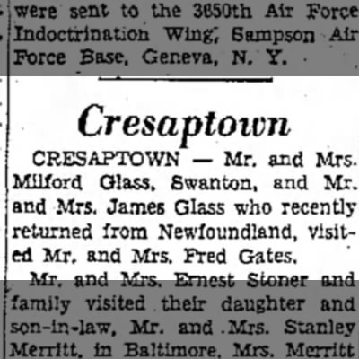 Mom & Dad, Grandma & Granddad - Cresaptoivn CRESAPTOWN — Mr. and Mrs. Milford...