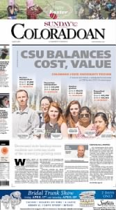Sample Fort Collins Coloradoan front page