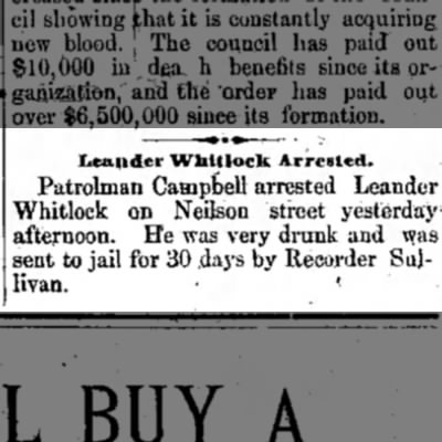 Leander Whitlock- 30 days  - to. Leniider Whltlock Arrested. Patrolman...