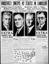 Newspaper coverage of Franklin D. Roosevelt's 1932 landslide presidential election victory