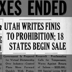 Utah ends prohibition for nation