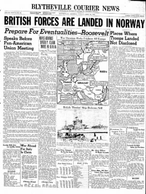 The Courier News from Blytheville, Arkansas on April 15, 1940 · Page 1