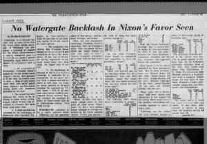 Gallup poll in August 1973 shows public opinions about Nixon and the Watergate scandal