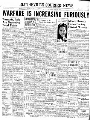 The Courier News from Blytheville, Arkansas on April 16, 1940 · Page 1