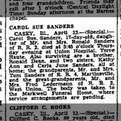 Carol Sue Sanders Obit -