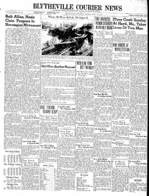 The Courier News from Blytheville, Arkansas on April 22, 1940 · Page 1