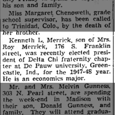 Kenneth L. Merrick 23 May 1947 - Kenneth L. Merrick, son of Mrs. Roy Merrick,...