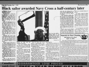 African American sailor receives Navy Cross for actions during Battle of Leyte Gulf 52 years later