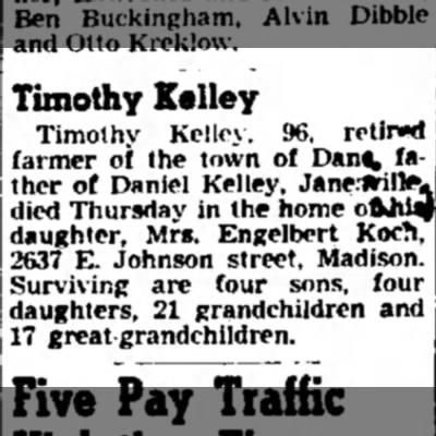 - Timothy Kelley Timothy Kelley, 96, retired...