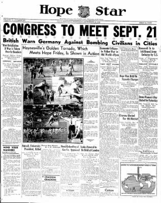 Hope Star from Hope, Arkansas on September 13, 1939 · Page 1