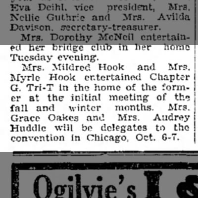 1933 Wapello Muscatine News Tribune 9.22.1933 - Tuesday evening. Mrs. Mildred Hook and Mrs....