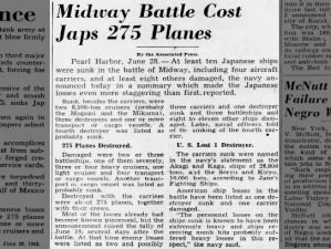 Article reports estimates of Japanese airplane and ship losses during the Battle of Midway