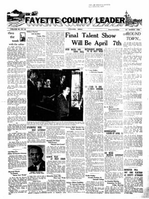 Fayette County Leader from Fayette, Iowa on March 27, 1958 · Page 1