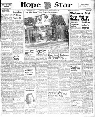 Hope Star from Hope, Arkansas on September 25, 1948 · Page 1