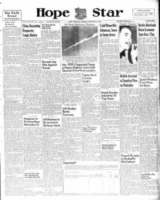 Hope Star from Hope, Arkansas on November 9, 1948 · Page 1