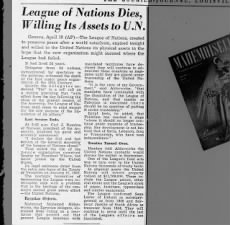 League of Nations is dissolved, 19 April 1946