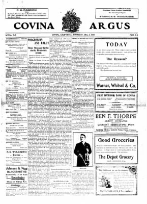 Covina Argus from Covina, California on December 7, 1907 · Page 1