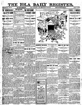Iola Daily Register And Evening News from Iola, Kansas on October 5, 1912 · Page 1