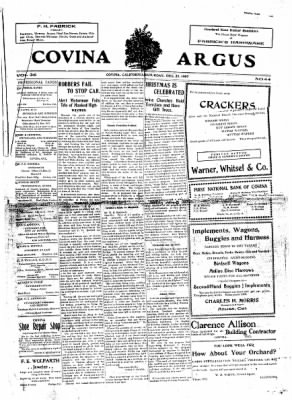 Covina Argus from Covina, California on December 28, 1907 · Page 1