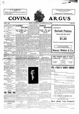 Covina Argus from Covina, California on January 25, 1908 · Page 1