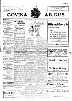 Covina Argus from Covina, California on February 15, 1908 · Page 1