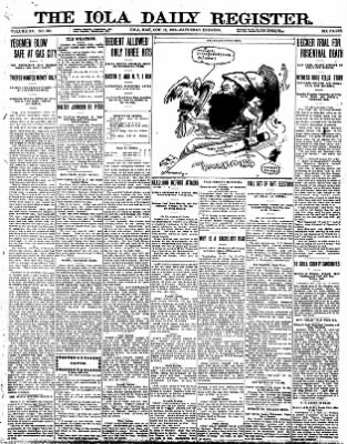 Iola Daily Register And Evening News from Iola, Kansas on October 12, 1912 · Page 1