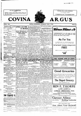 Covina Argus from Covina, California on March 7, 1908 · Page 1