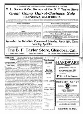 Covina Argus from Covina, California on March 21, 1908 · Page 2