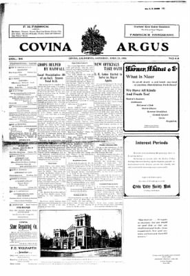 Covina Argus from Covina, California on April 25, 1908 · Page 1