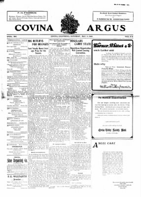 Covina Argus from Covina, California on May 9, 1908 · Page 1
