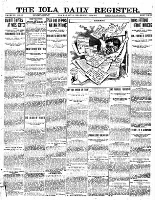 Iola Daily Register And Evening News from Iola, Kansas on October 21, 1912 · Page 1