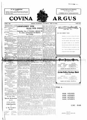 Covina Argus from Covina, California on June 20, 1908 · Page 1
