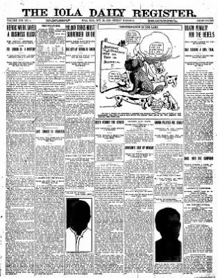 Iola Daily Register And Evening News from Iola, Kansas on October 25, 1912 · Page 1