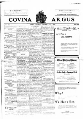 Covina Argus from Covina, California on July 4, 1908 · Page 1