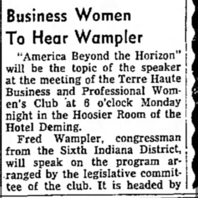 "Professional Womens Club 1 - Business Women To Hear Wampler ""America Beyond..."