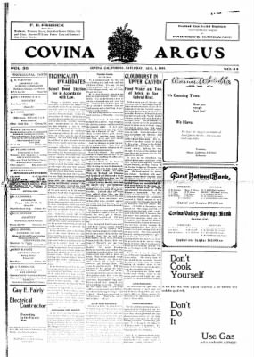 Covina Argus from Covina, California on August 1, 1908 · Page 1