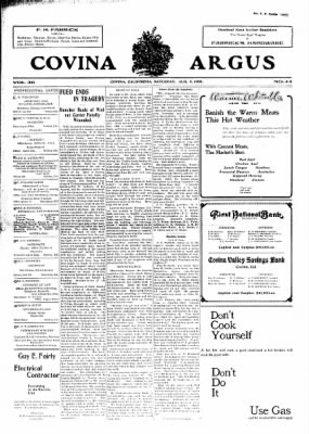 Covina Argus from Covina, California on August 8, 1908 · Page 1