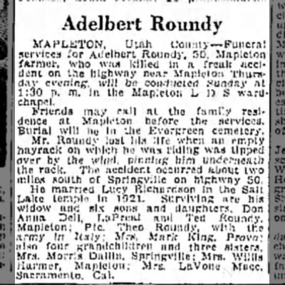 26 Jan 1946 Adelbert Roundy Obit. -