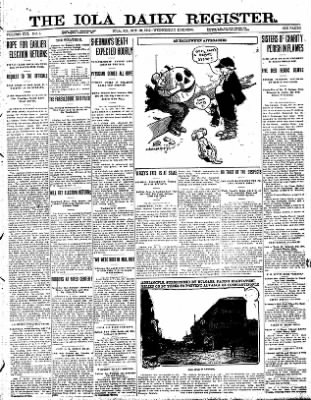 Iola Daily Register And Evening News from Iola, Kansas on October 30, 1912 · Page 1