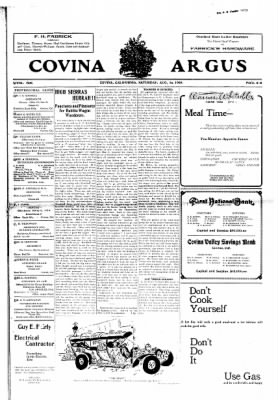 Covina Argus from Covina, California on August 15, 1908 · Page 1