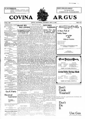 Covina Argus from Covina, California on September 5, 1908 · Page 1
