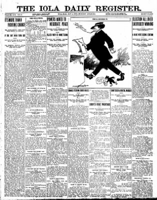 Iola Daily Register And Evening News from Iola, Kansas on November 4, 1912 · Page 1