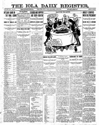 Iola Daily Register And Evening News from Iola, Kansas on November 7, 1912 · Page 1