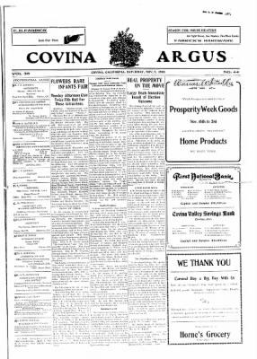 Covina Argus from Covina, California on November 7, 1908 · Page 1