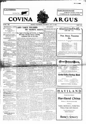 Covina Argus from Covina, California on November 28, 1908 · Page 1
