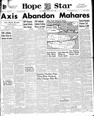 Hope Star from Hope, Arkansas on April 9, 1943 · Page 1