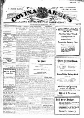 Covina Argus from Covina, California on February 6, 1909 · Page 1