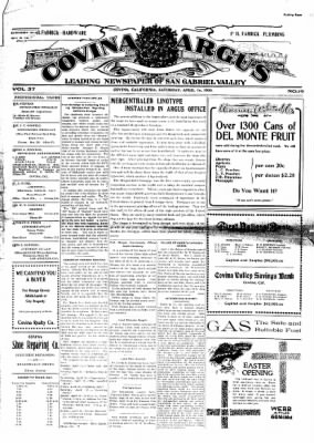 Covina Argus from Covina, California on April 10, 1909 · Page 1