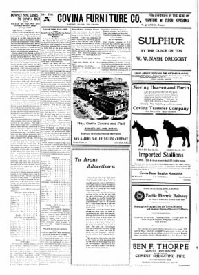 Covina Argus from Covina, California on May 8, 1909 · Page 6